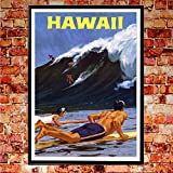 WallBuddy Hawaii Surf Poster Hawaii 50er Jahre Kunstdruck