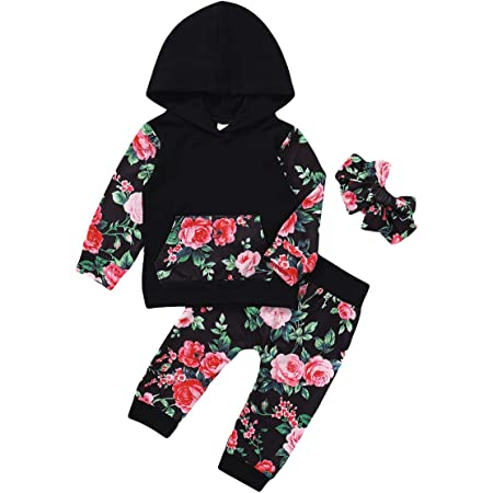 Baby Girls Clothes Outfits Long Sleeve Hoodie Floral Tops Tracksuit with Pocket Pants Headband Set Infant Baby Girls Tracksuit Outfits Black