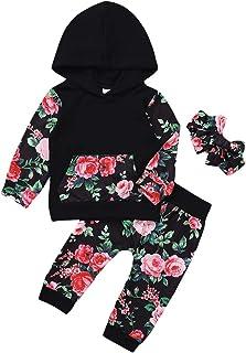 Haokaini 3Pcs Bébé Enfant en Bas Âge Fille Floral Chemise à Capuche Pantalon Bandeau Tenues Ensemble pour Bébé