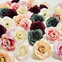 Flowers Heads in Bulk Wholesale Wedding Party Home Decoration Wreath DIY Scrapbooking Crafts Small Artificial Tea Rose Bud Silk Flower Head 30pcs 4CM(Multicolor)
