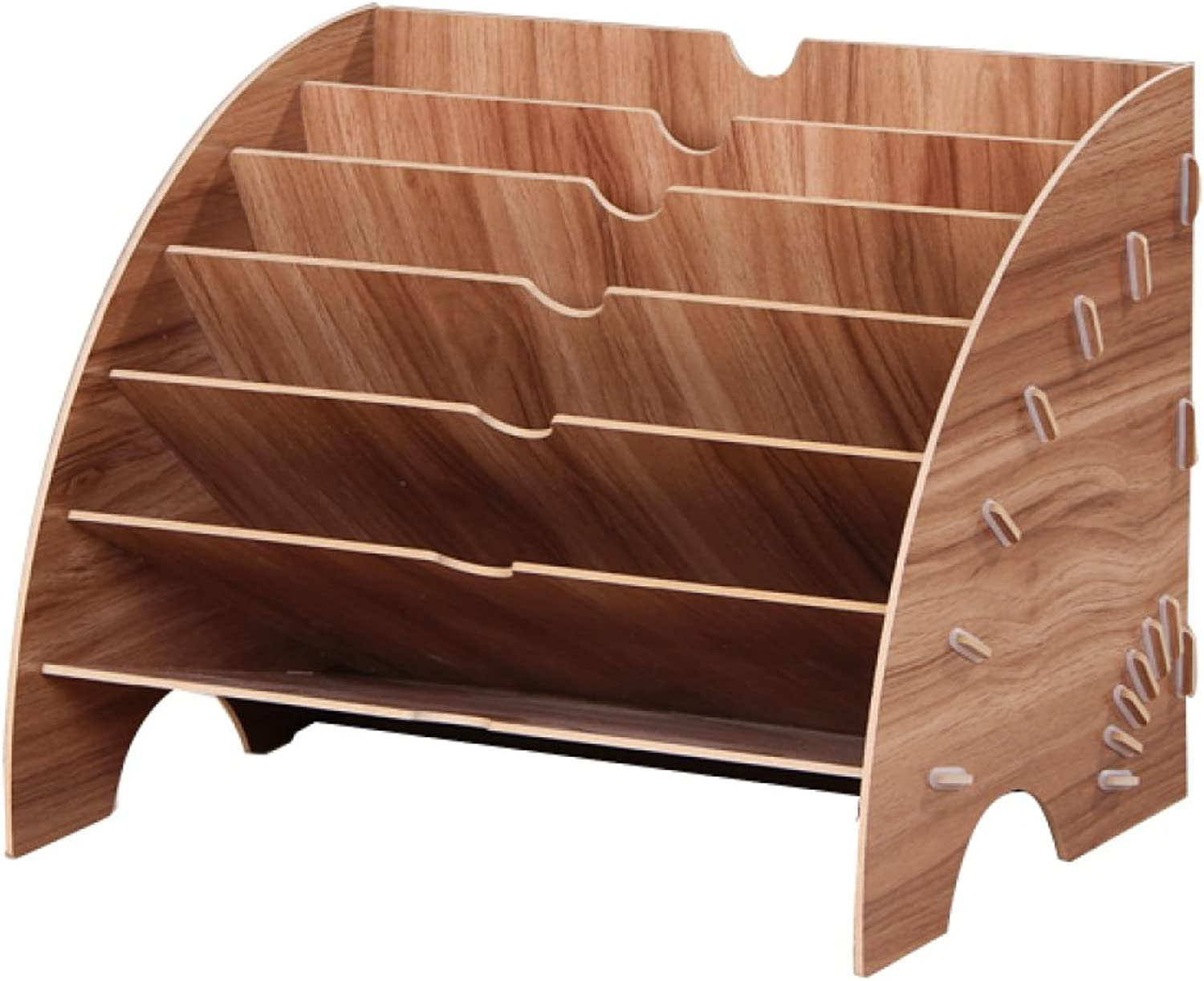 Bookcase by Fan-Shaped Data Holders Wooden Document Holders Office Supplies Desktop Magazine Storage Shelves,Woodcolor