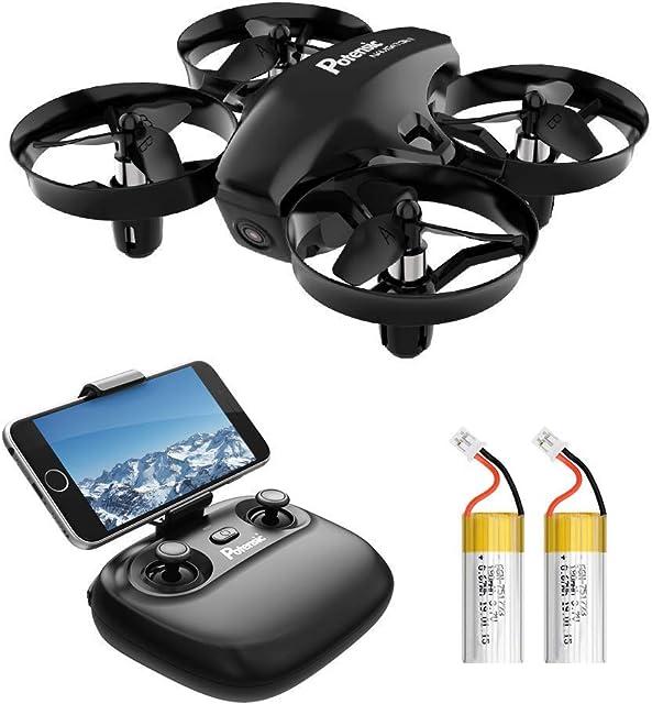 Potensic Mini Drone para Niños con Cámara RC Quadcopter 2.4G 6 Ejes - Altitude Hold Modo sin Cabeza Control Remoto Ajuste de Ruta FPV en Tiempo Real 2 Baterías A20W