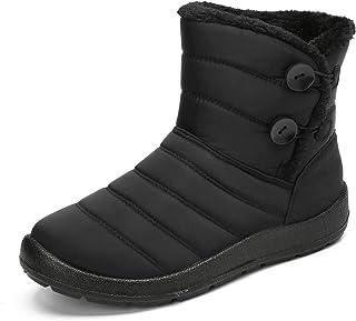gracosy Varma snöstövlar kvinnor vinter ankelstövlar pälsfoder stövlar vattentäta tjocka vinterskor dra på platta skor uto...