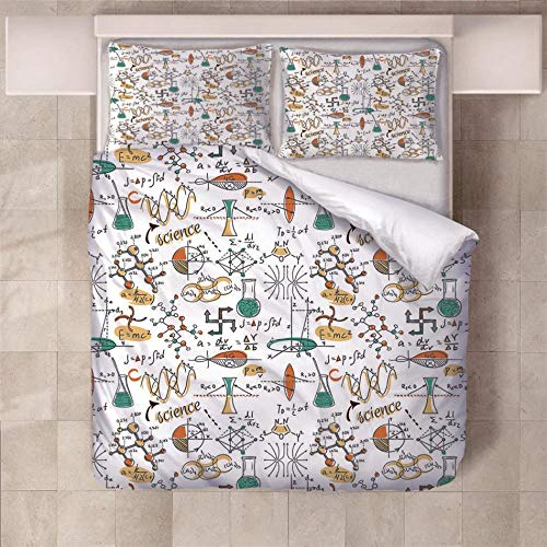 NHBTGH Duvet Cover Set 55.12x86.61 inch Science World 1 Quilt Cover +2 Pillow Cases (2x19.69x29.53 inch) Easy Care Polyester Bedding Bedroom Set with Zipper Closure - White