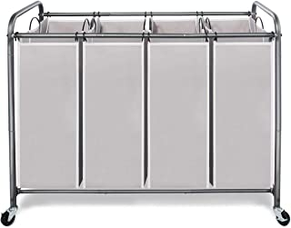 STORAGE MANIAC Laundry Sorter 4 Section with Heavy Duty Rolling Wheels for Clothes Storage, Grey