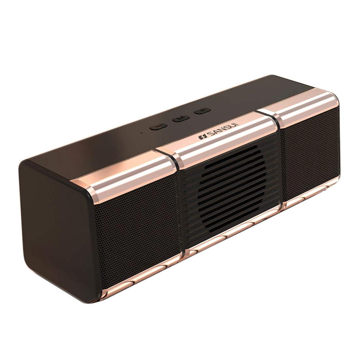 不明瞭学んだ最小化するXIAOXIAN 携帯電話コンピュータカード小型プレーヤーとワイヤレスデュアルスピーカーのBluetoothスピーカー大容量ポータブルラジオ屋外のサブウーファーミニステレオ3Dサラウンドホーム (Color : Gold)