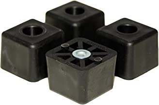 4 Large Cube Square Rubber Feet Bumpers - 1.125 H X 1.500 W - Made in USA Heavy Duty Non Marking for Furniture, Tables, Chairs, Desks, Benches.