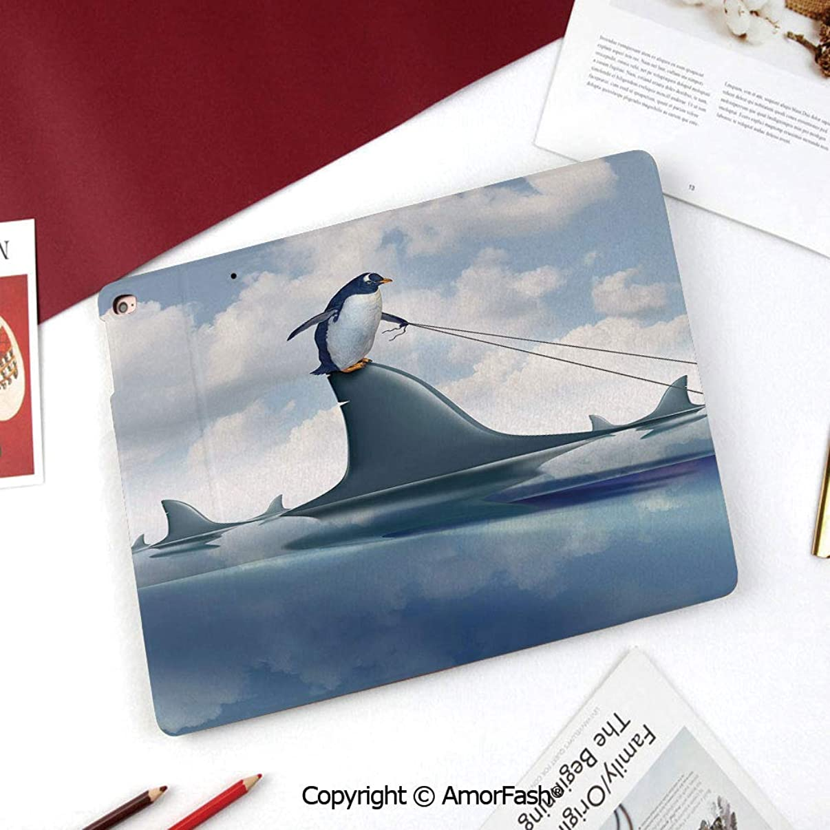 Shark Samsung Galaxy Tab A 8.0 Case (2015 Old Model) - Standing Cover Folio Case,Fear Management Leadership Concept with A Penguin Holding Shark Humor Design Decorative
