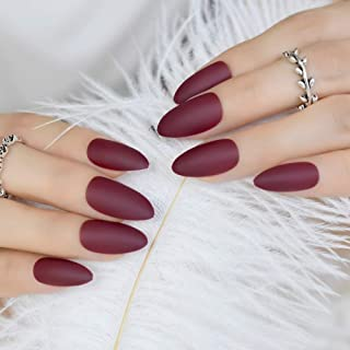 Colour Matte Press-On Nails Maroon Red Almond Fake Nail Tips Artificial Fingernails Easy Use F54-352P