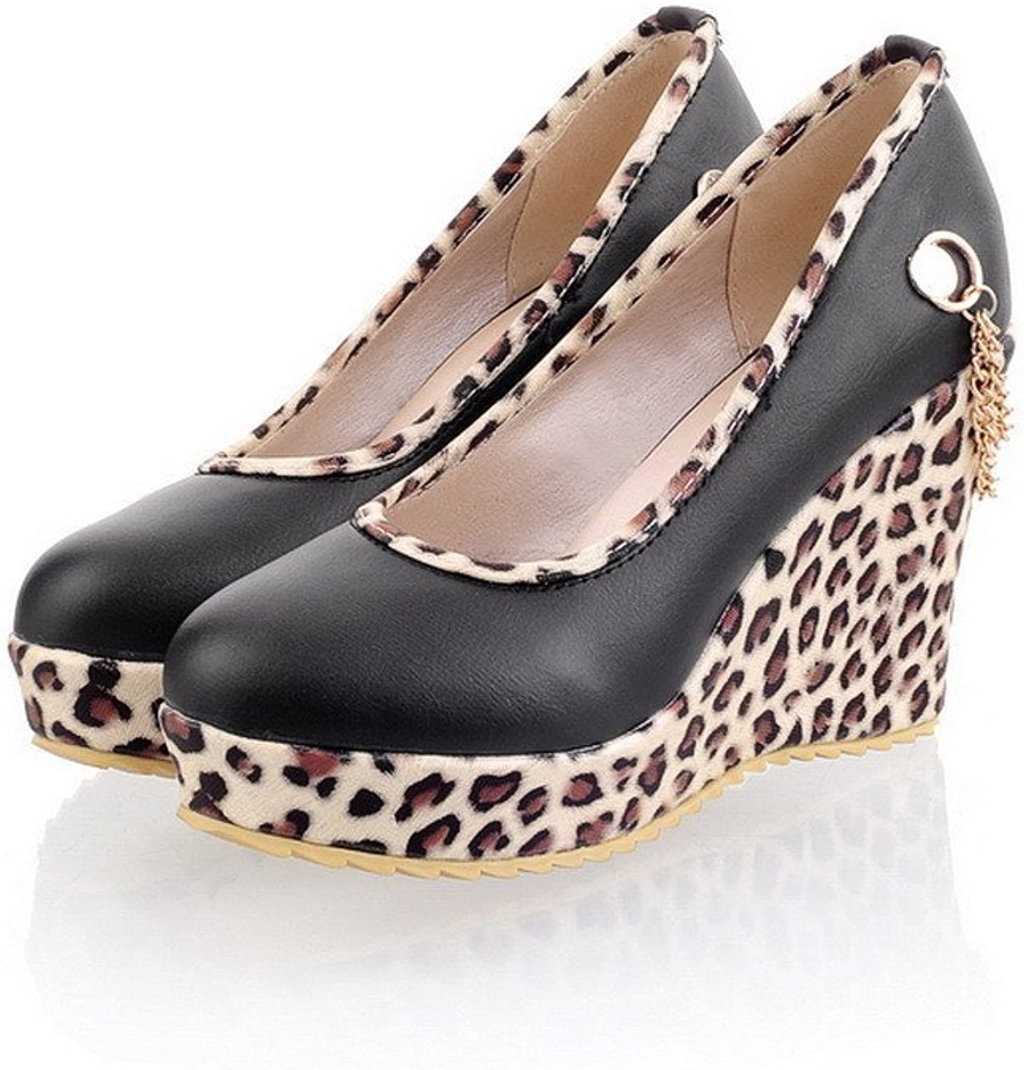 Lucksender Womens Fashion Closed Round Toe High Heel Wedge Soft Material PU Leopard Pumps with Metal Chain