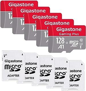 Gigastone Pauete de 5 Tarjeta Micro SD de 128GB Adaptador U1 C10 Clase 10 Full HD Disponible Lectura/Escritura de hasta 95/25 MB/s
