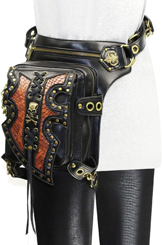 MAGAI Men's Gothic Steampunk Leather Multipurpose Tactical Drop Leg Arm Waist Bag Pack Belt Hiking Fanny Messenger Shoulder Black ( color   Style2 )
