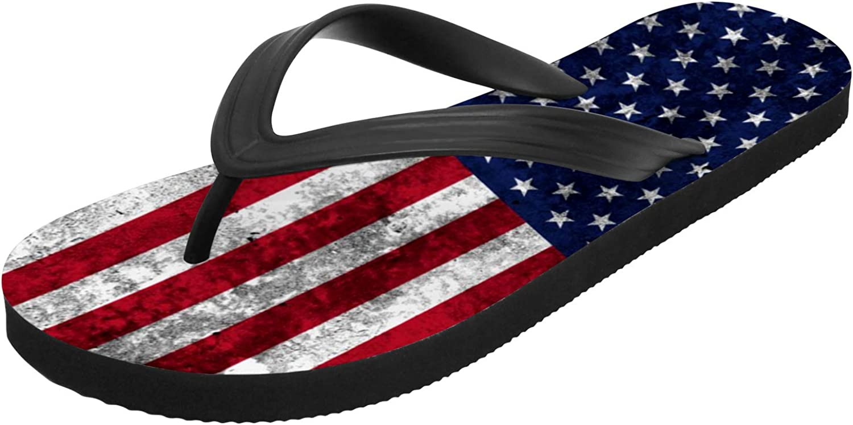 American Flag Sandals for Men Women Custom Anti-Slip Casual Flip Flops Outdoor Gifts for Birthday,White,Men 13
