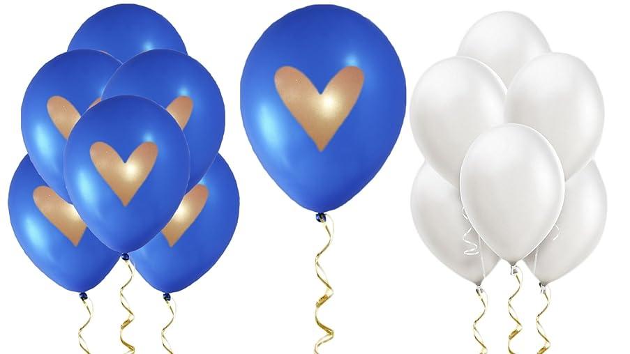 Cobalt Blue Balloons Royal White Gold Heart Love 12