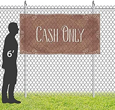 CGSignLab 8x4 Cash Only Victorian Card Wind-Resistant Outdoor Mesh Vinyl Banner