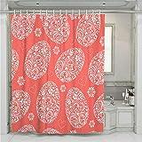 Chickwin Duschvorhang Wasserdicht Anti-Schimmel 3D Ostern Drucken Polyester Bad Vorhang mit 12 Duschvorhangringe für Badezimmer Decor (90x180cm,Rotes Osterei)