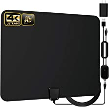 TV Antenna - HDTV Antenna Support 4K 1080P, 90-120 Miles Range Digital TV Aerial for HDTV, VHF UHF Freeview Channels Antenna with Amplifier Signal Booster, 18 FT Premium Coaxial Cable