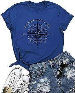 تيشيرت للنساء مطبوع عليه Not All Who Wander are Lost قمصان رياضية صيفية برسائل مضحكة بوصلة رسم غير رسمي