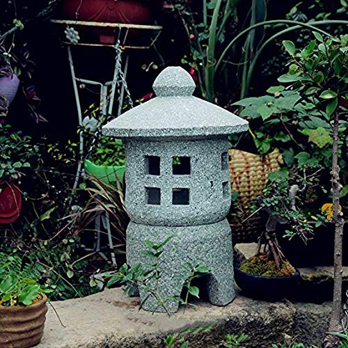 Estatuas para jardín Las Linternas De Piedra Antiguo Palacio Japonés Lámpara Interior del Hogar Exteriores De Decoración Zen Light Crafts Decoración De Jardín -Prima C: 30 * 30 * 50cm