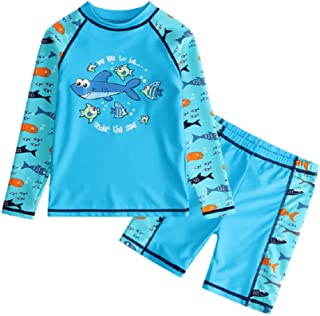 Qfeng Boys Scrawl Black Swimsuit UPF 50+UV Protection Two Piece Swimming set 5-14Y LongSleeve Rash Guard Boysuit Costume