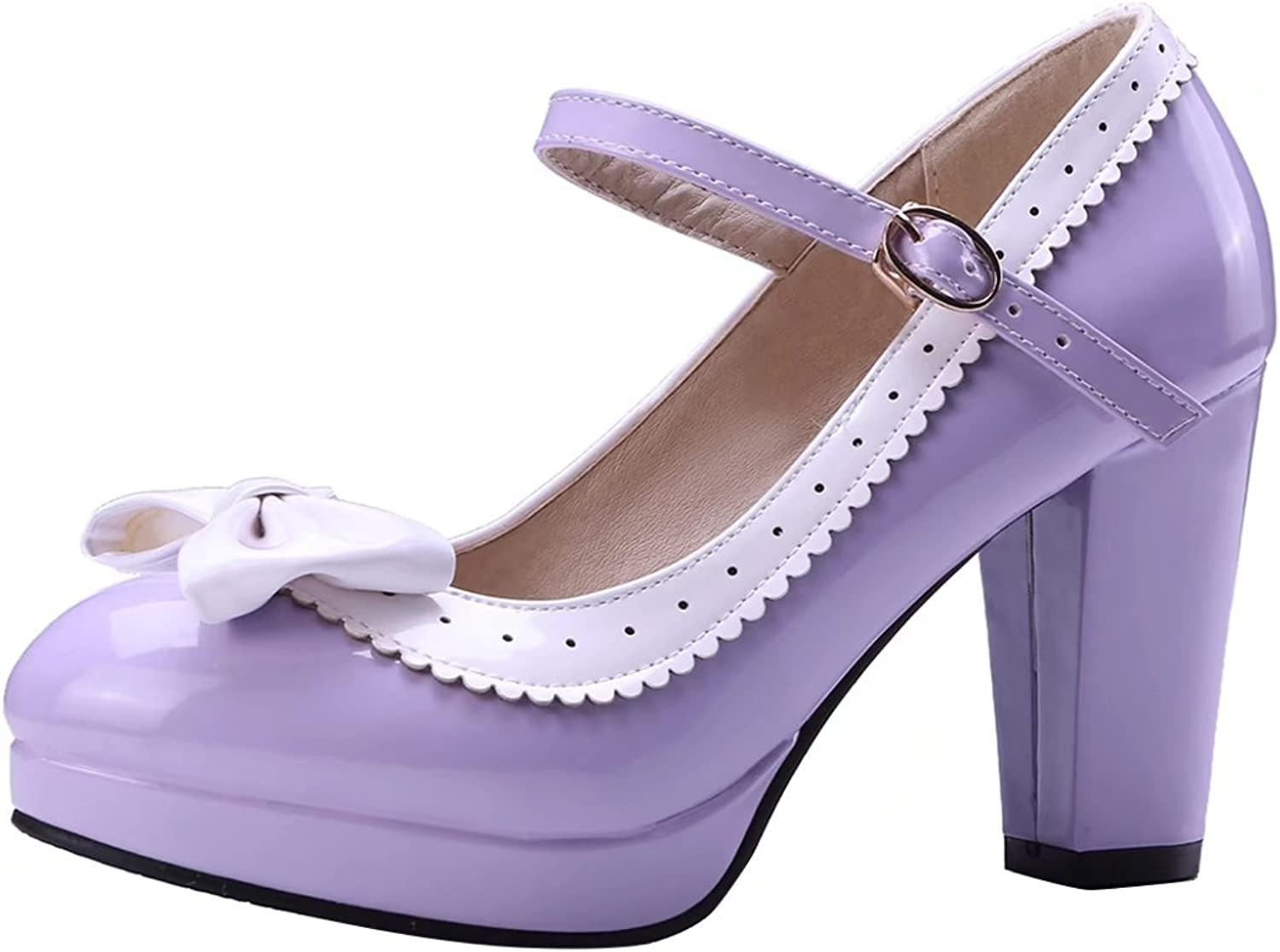 AIYOUMEI Women's Mary Jane Platform Ankle Strap Block Heel Pumps shoes with Bows