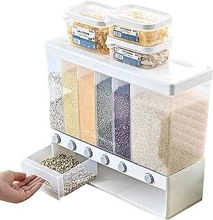 BRIDGEGUS 6 in1 Rice Cereal Dispenser Grain Dry Food Storage Kitchen Food Container Box Machine, with Lid, Moisture Proof,...
