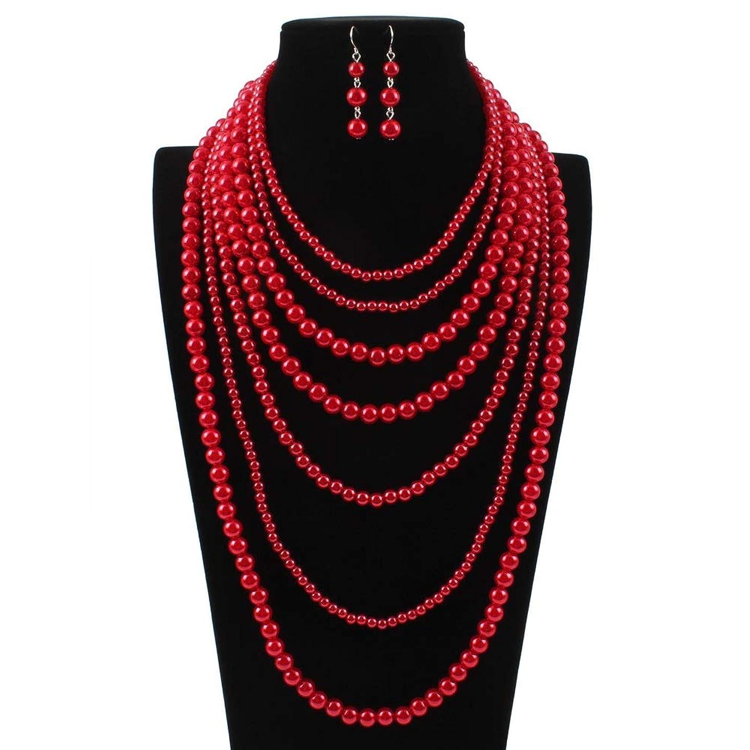 精緻化薬用驚ジュエリーセット 絶妙なジュエリーギフト女性多層ビーズステートメントネックレスイヤリングセット結婚式のためのギフト 婚約やパーティーなどの機会に適しています (Color : Red, Size : Free size)