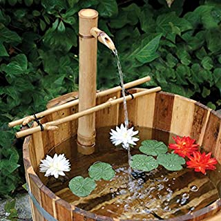 "Bamboo Accents Water Fountain with Pump, Backyard Pond Kit, Extra Large 24"" Adjustable Style, Smooth and Split-Resistant, DIY Zen Bamboo Fountain"