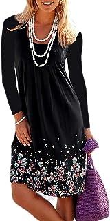 Donna Vestito Stampa Foreale Bohemien Hippie Chic Abito Stile Impero Corto Moda Vestiti Manica Lunga Ragazza Vintage Swing...