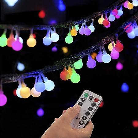 Guirlande Lumineuse Sphérique, Guirlande Lumineuse d'Extérieur avec Prise 100 LED 8 Modes avec télécommande pour Chambre à Coucher, Intérieur, Jardin, Noël et Mariage (Multicolore)(Multicolore)