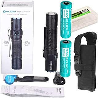 OLIGHT M2R Pro Warrior 1800 Lumens USB Magnetic Rechargeable Tactical Flashlight, 2 X 21700 Batteries, holster with EdisonBright BBX5 battery carry case