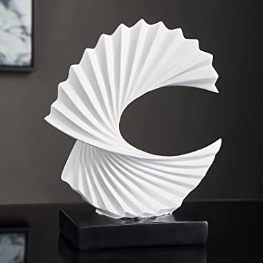 """Modern Abstract Sculpture Ocean Wave White Sculptures, Statues for Home Decor, Dining Table Decor for Living Room, 11"""" Fi"""