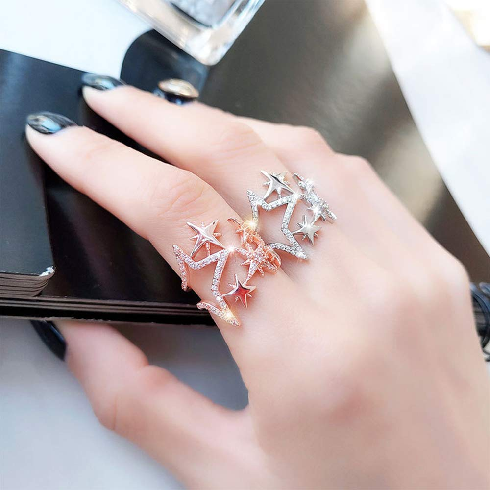 Aimimier Cubic Zirconia Star Ring Sparkling Hollow Crystal Star Index Joint Knuckle Ring Wedding Jewelry for Women and Girls (Rose gold)