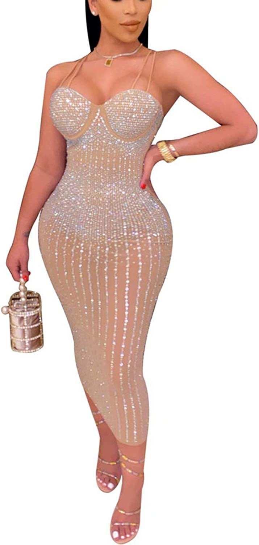 Women's Sexy Sequin Hot Rhinestone Sparkle Double Spaghetti Straps See Through Zipper Back Bandage Midi Club Party Dress