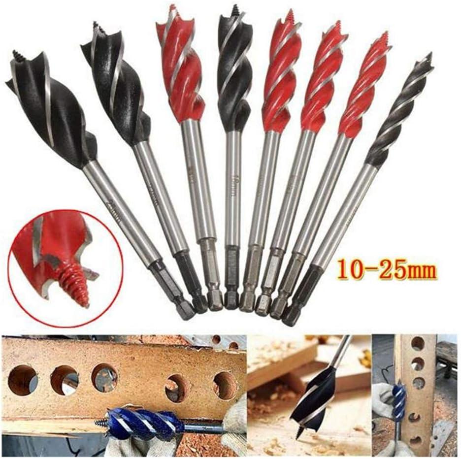 10-25mm Twist Drill Bit Set Wood Fast Cut Auger Carpenter Joiner ToolBB