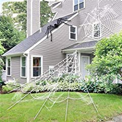 2020 Halloween Decorations Outdoor -----5 In 1 Giant spider web set - Now you can GET 16 Feet giant spider web, 36inch large black spider, 20g super stretchy cobweb, and 2 pcs 1.5 inch fake spiders, 2 hooks (for the gutter) and 5 nails (for the groun...