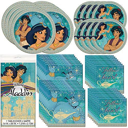 Unique Aladdin Vajilla Bundle oficial autorizado por Unique | servilletas y platos, cubierta de mesa | ideal para fiesta de cumpleaños de niños, temática animada, celebración de Disney