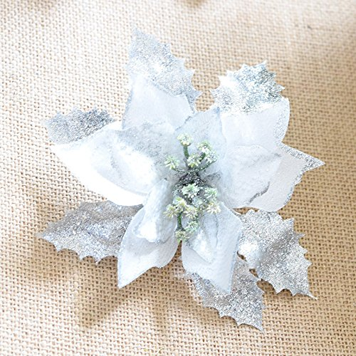 Inovey Fleurs Artificielles De Décoration De Fleur De Noël - Argent