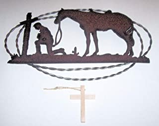 ABC Products - Rusty Metal Cut-Out - Of A Cowboy Kneeling With His Horse At The Cross - In Prayer - In A Twisted Wire Oval Frame - Old Country Design - (Rustic Rust Finish)