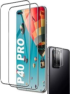 Pansarglas skyddsfolie för Huawei P40 Pro, [2 stycken] [9H hårdhet] [Anti-rep] [Lätt att installera] [Anti-olje] Skärmskyd...
