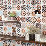 Livelynine 15.8X197 Inch Backsplash Tile Wallpaper Stick and Peel Kitchen Contact Paper for Cabinets Counters Drawer Shelves Colorful Decorative Tile Contact Paper for Kitchen Back Splashes Removable