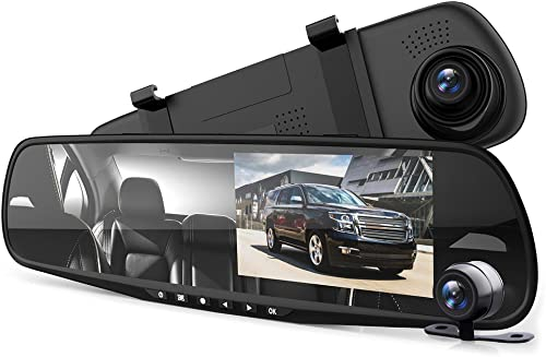 "Pyle Dash Cam Rearview Mirror - 4.3"" DVR Monitor Rear View Dual Camera Video Recording System in Full HD 1080p w/Buil..."