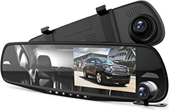 "Pyle Dash Cam Rearview Mirror - 4.3"" DVR Monitor Rear View Dual Camera Video Recording System in Full HD 1080p w/Built in G-Sensor Motion Detect Parking Control Loop Record Support - PLCMDVR49"