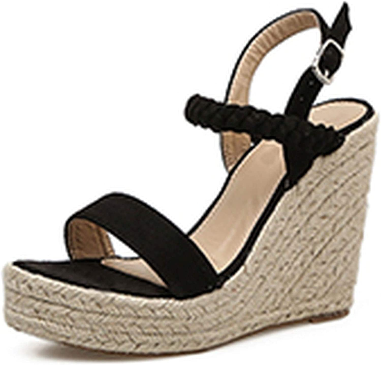 HuangKang Classics for Women Flock Wedges Buckle Strap Wedges High Heel Gladiator Casual Ladies Sandals