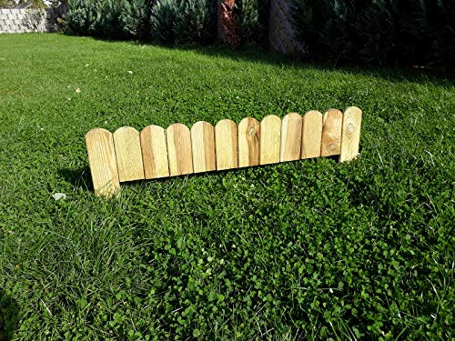 naturholz-shop 10 x Steckzaun 110 cm Zaunhöhe 20 cm aus Holz für Beeteinfassung Rasenkante