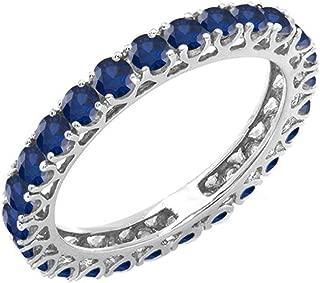 Dazzlingrock Collection 1.80 Carat (ctw) 14K Gold Round Blue Sapphire Ladies Eternity Wedding Band 1 3/4 CT