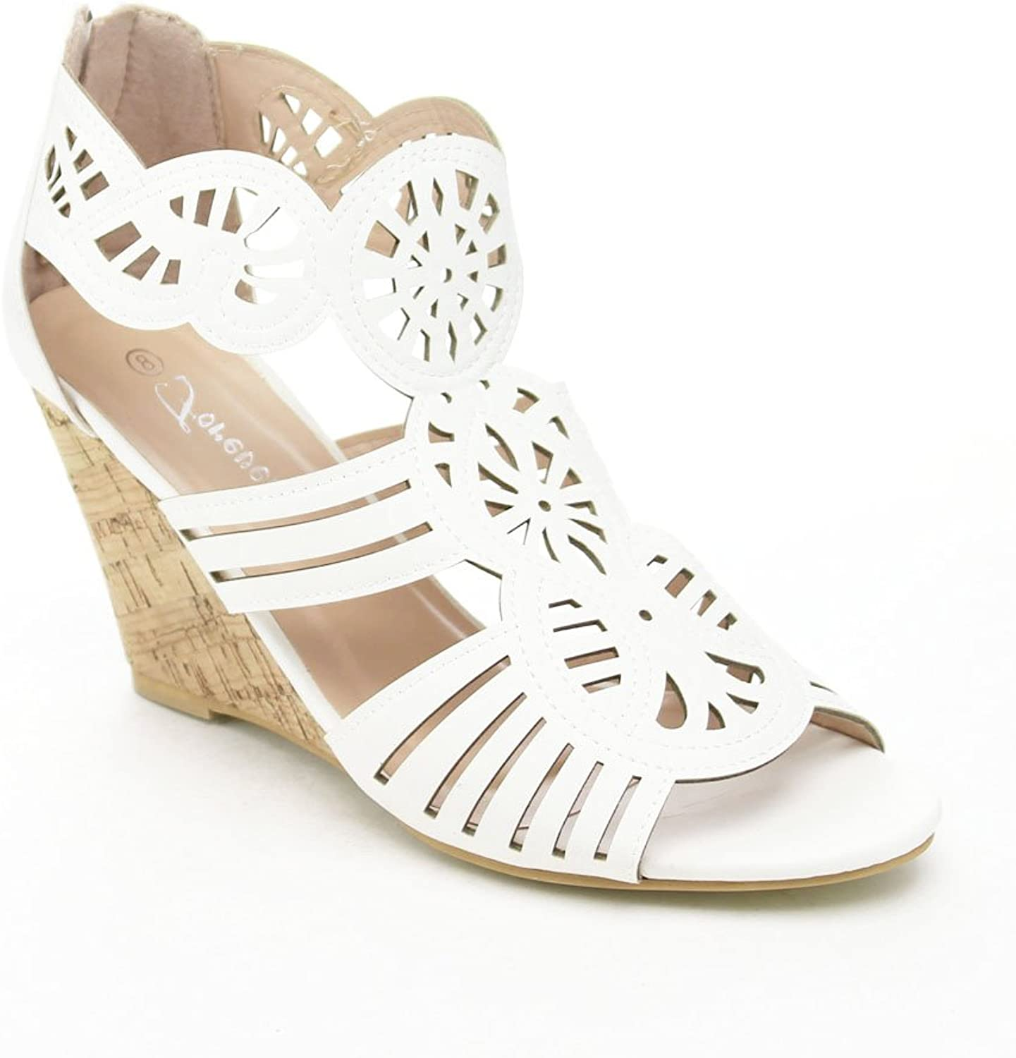 Forever Ethan-03 Women's Wedge Heel Ankle Strap Sandals,White,10