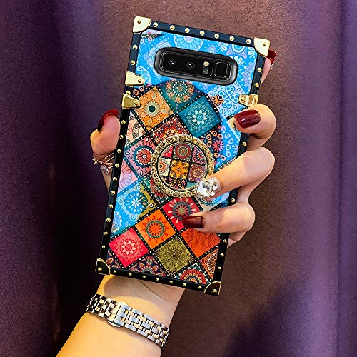 KAPADSON for Samsung Galaxy Note 8 Newest Blu -Ray Retro Shining Skin Design TPU Gold Square Corner Protective Back Case with 360 Degree Holder - Folk Style 2