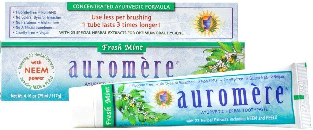 Auromere Ayurvedic Herbal Toothpaste Fresh Natura Mint Vegan - New Finally popular brand sales