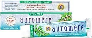 Auromere Ayurvedic Herbal Toothpaste, Fresh Mint - Vegan, Natural, Non GMO, Flouride Free, Gluten Free, with Neem & Peelu (4.16 oz), 1 Pack